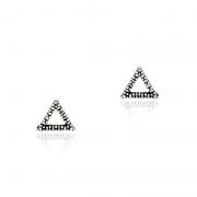 Brinco Triângulo Vazado 7mm Em Prata 925