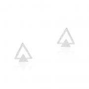Brinco Triângulo Vazado Com Zircônias Em Prata 925