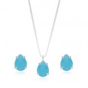 Conjunto Azul Céu Em Prata 925