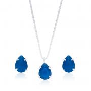 Conjunto Azul Royal Em Prata 925