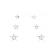 Conjunto Brinco De Estrelas Em Prata 925
