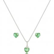 Conjunto  Coração Verde Cristal  6 mm Em Prata 925