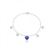 Pulseira Coração Azul Royal Em Prata 925