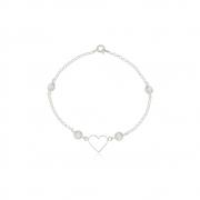 Pulseira Coração com Zircônia Cristal Em Prata 925