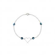 Pulseira Coração com Zircônias Azuis Em Prata 925