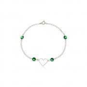 Pulseira Coração com Zircônias Verdes Em Prata 925
