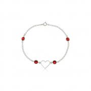 Pulseira Coração com Zircônias Vermelhas Em Prata 925