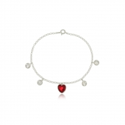 Pulseira Ponto de Luz Coração Vermelho  Em Prata 925