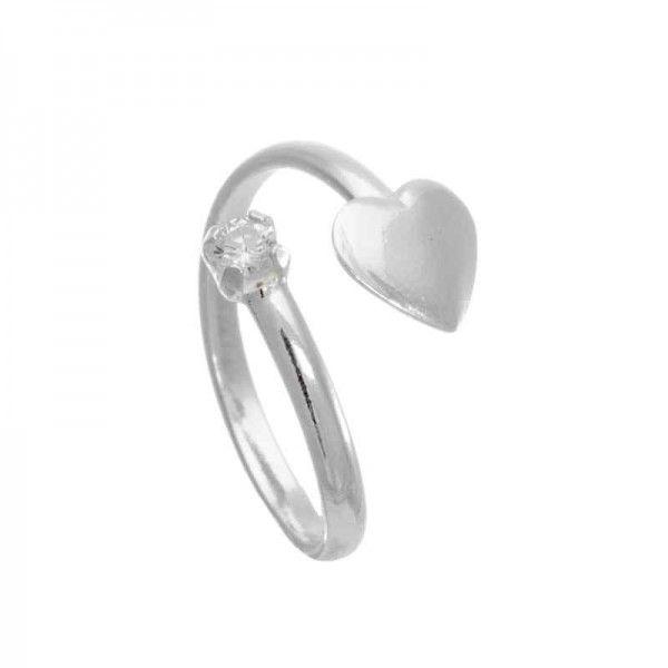 Anel Falange Coração Com Pedra Em Prata
