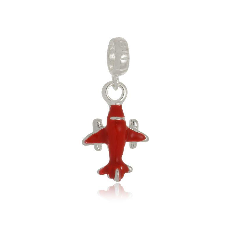 Berloque Avião Vermelho Em Prata 925