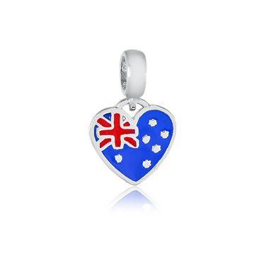 Berloque Bandeira da Austrália Em Prata 925