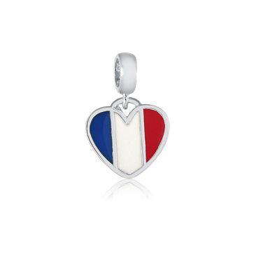 Berloque Bandeira da França Em Prata 925