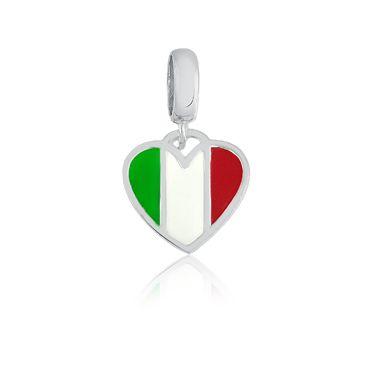 Berloque Bandeira da Itália Em Prata 925