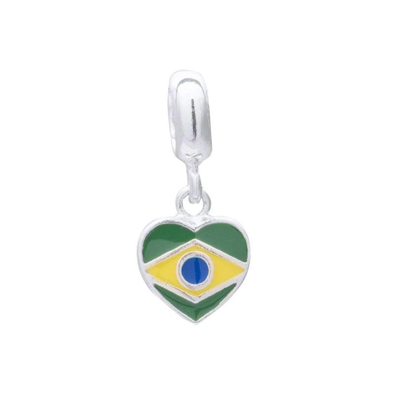Berloque Bandeira do Brasil Em Prata 925