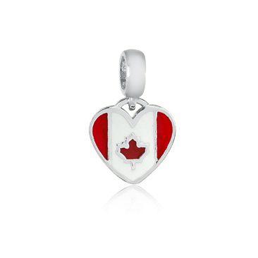 Berloque Bandeira do Canadá Em Prata 925