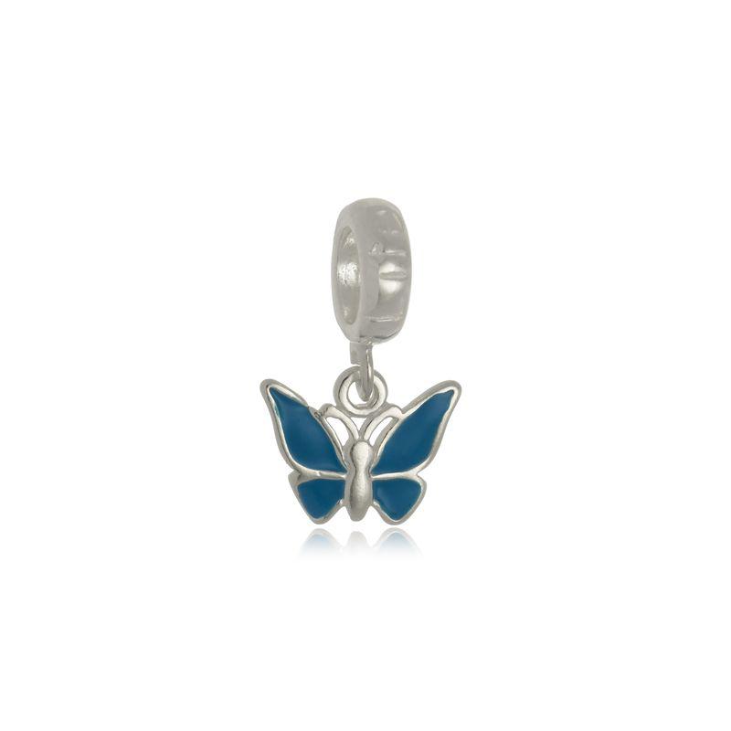 Berloque Borboleta Azul Em Prata 925