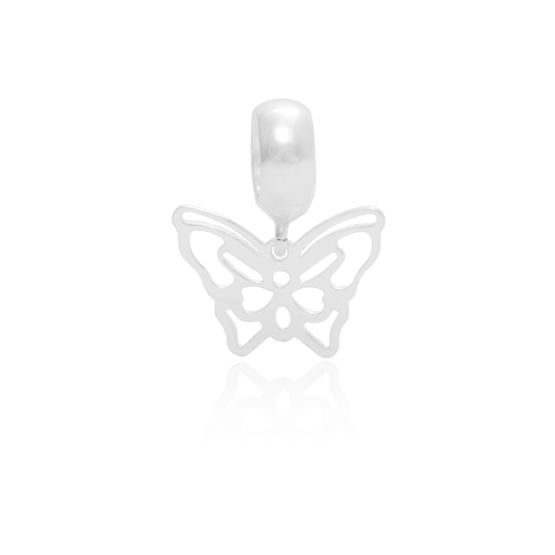Berloque Borboleta Vazada Em Prata 925