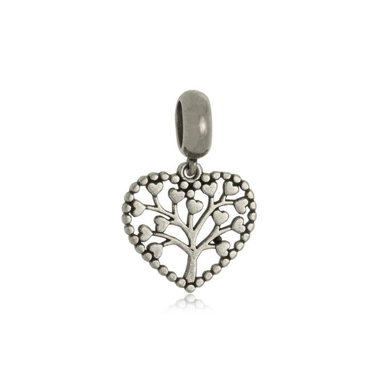 Berloque Coração Árvore da Vida Em Prata 925
