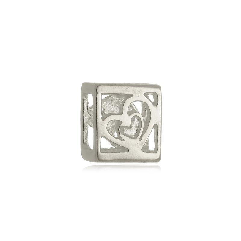 Berloque Separador Coração Quadrado Em Prata 925