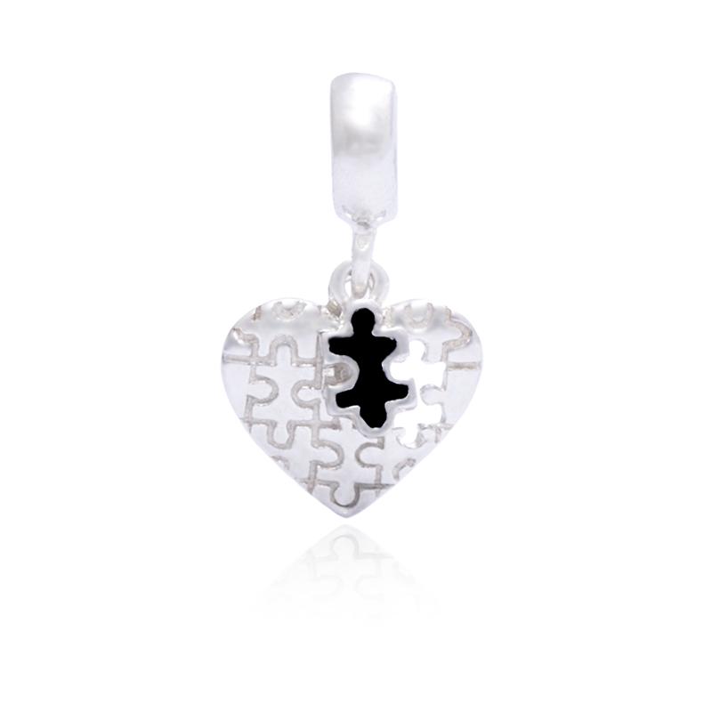 Berloque Coração Quebra Cabeça II Em Prata 925