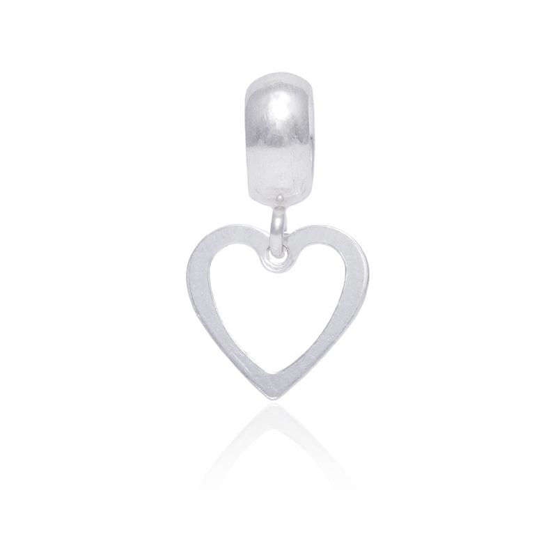 Berloque Coração Vazado Em Prata 925