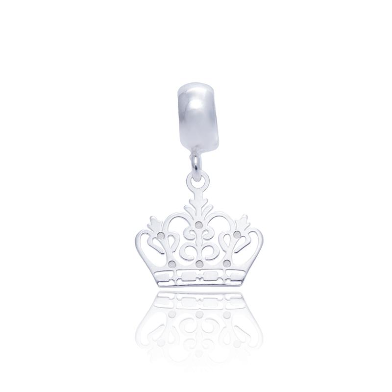 Berloque Coroa II Desenhada A Laser Em Prata 925