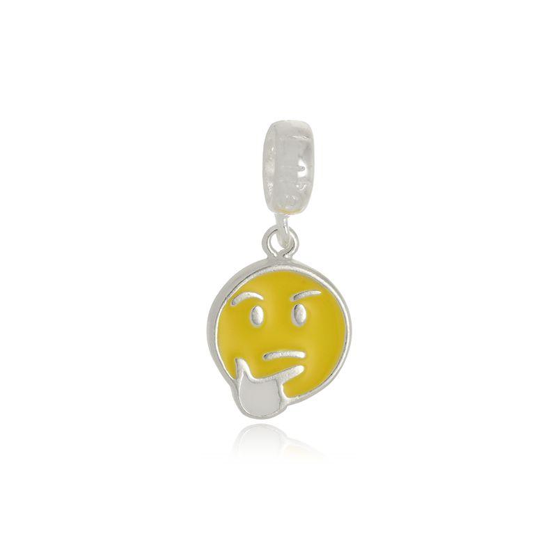 Berloque Emoji Pensativo Em Prata 925