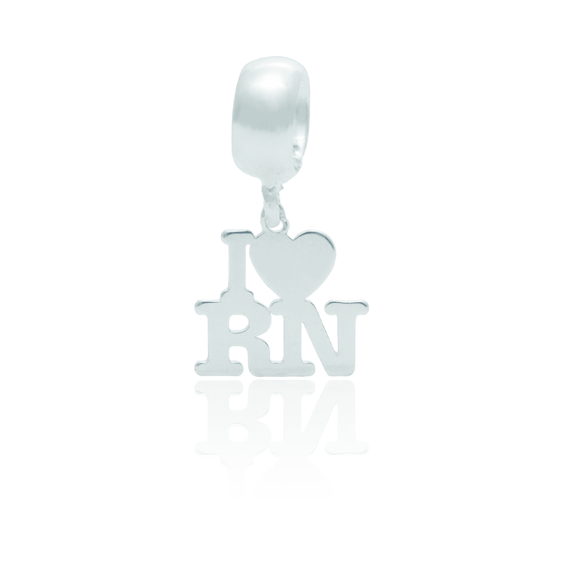 Berloque I Love RN Desenhado a Laser Em Prata 925