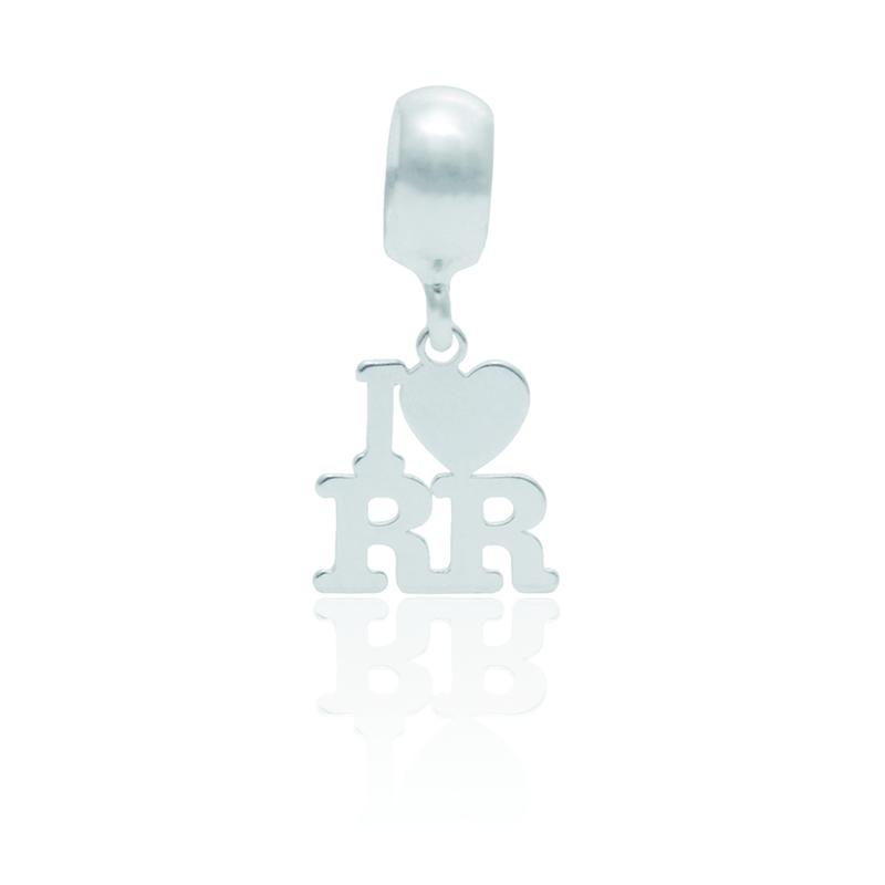 Berloque I Love Roraima Desenhado a Laser Em Prata 925