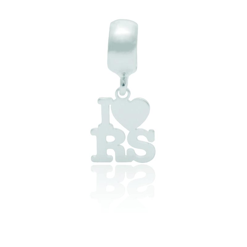 Berloque I Love RS Desenhado a Laser Em Prata 925