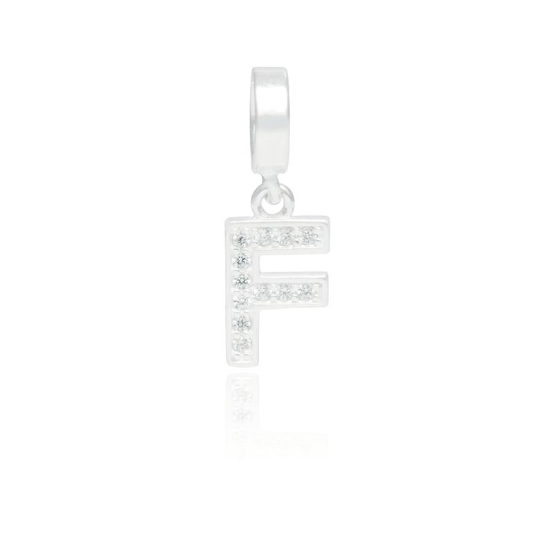 Berloque Letra F Com Zircônias Em Prata 925