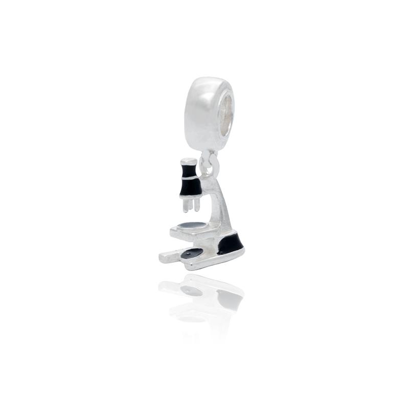 Berloque Microscópio Em Prata 925