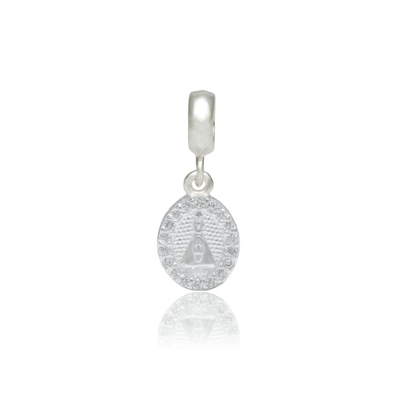 Berloque Nossa Senhora Aparecida Com Zircônias Em Prata 925