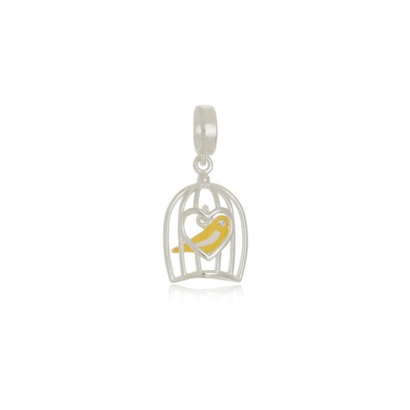 Berloque Pássaro Amarelo na Gaiola Em Prata 925