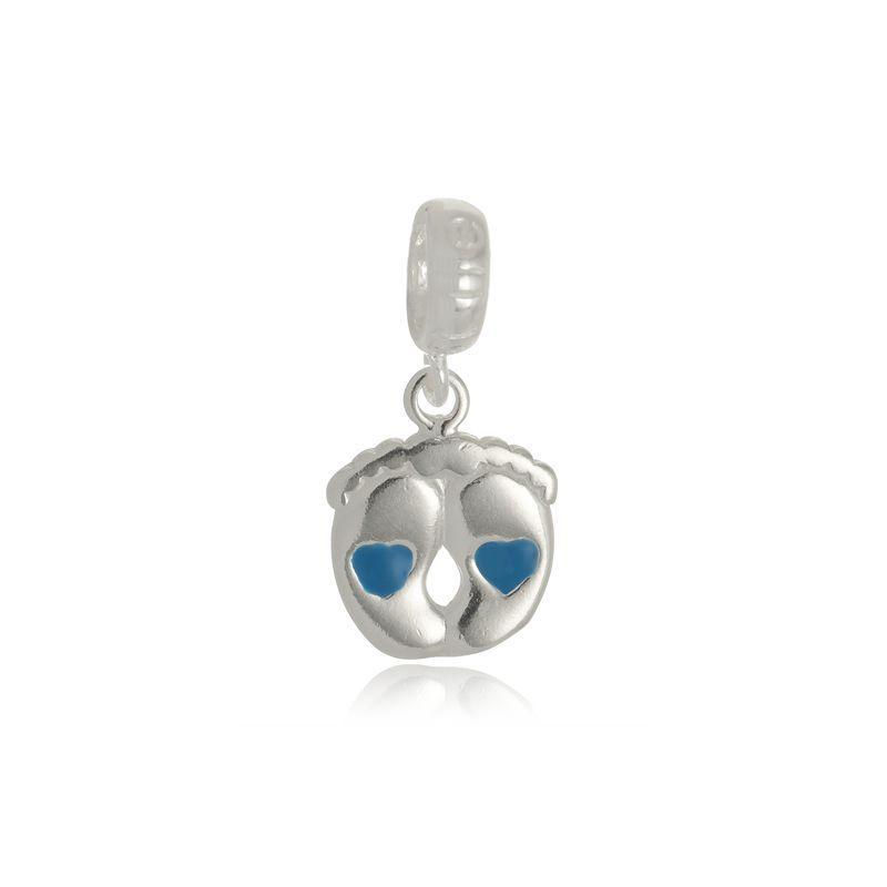Berloque Pézinho de Bebê Azul Em Prata 925