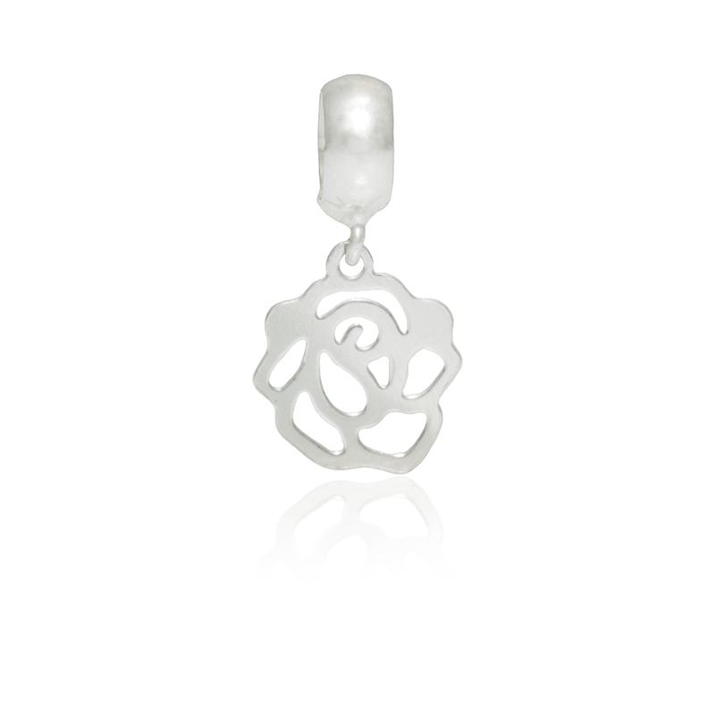 Berloque Rosa Vazada Em Prata 925