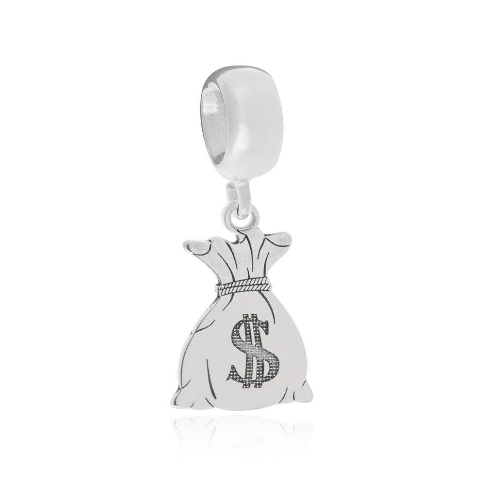 Berloque Saquinho De Dinheiro Desenhado A Laser Em Prata 925