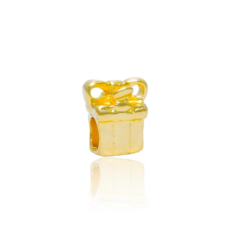 Berloque Separador Caixinha De Presente I Dourada