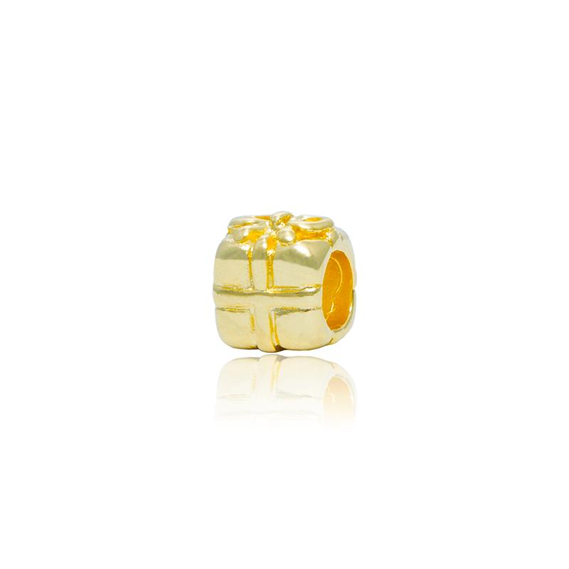 Berloque Separador Caixinha De Presente II Dourada
