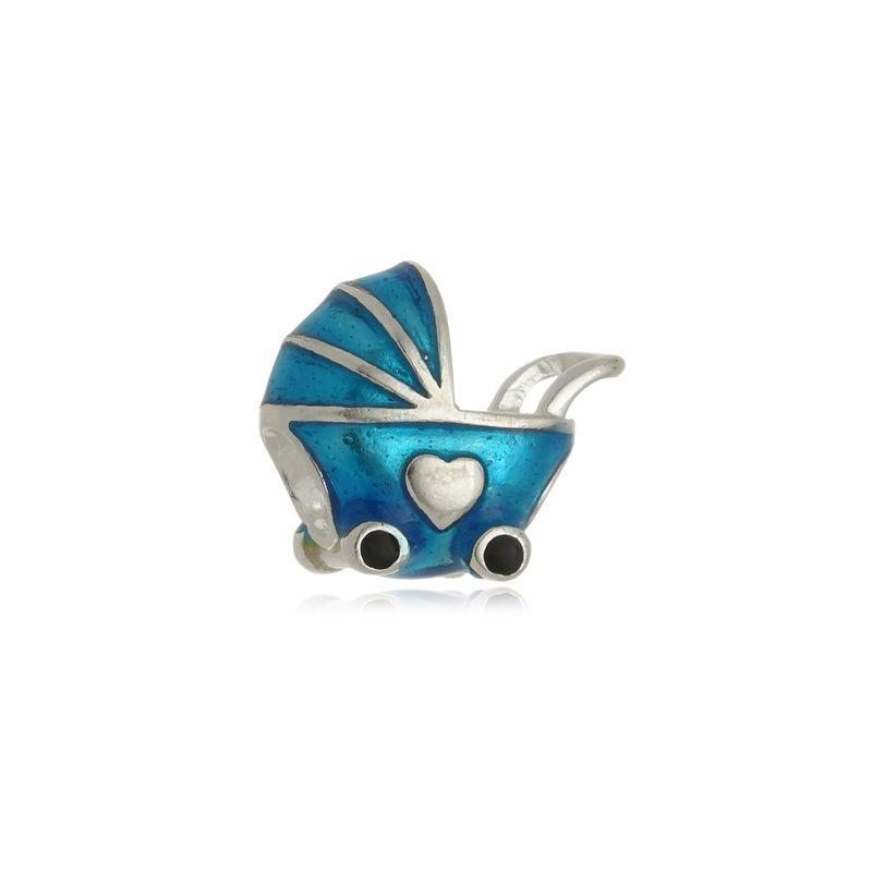 Berloque Separador Carrinho de Bebê Azul Em Prata 925