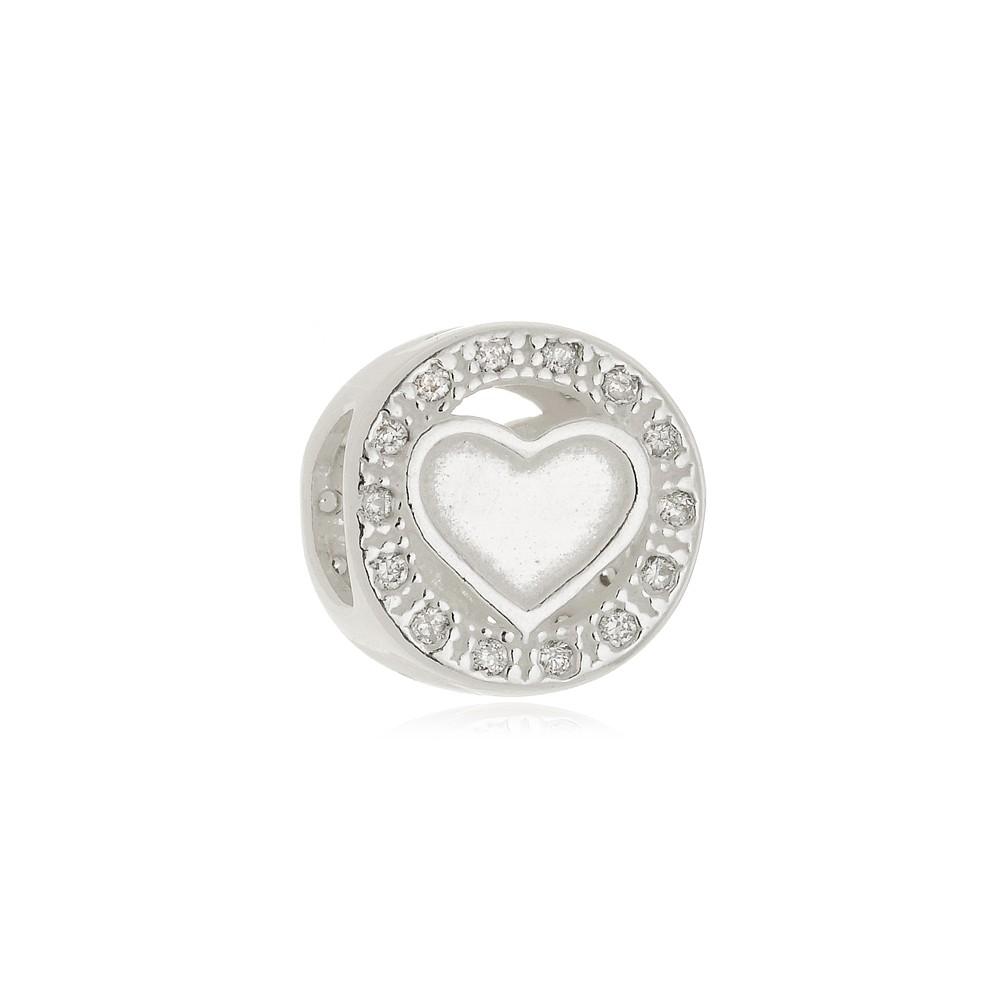 Berloque Separador Coração Apaixonado Com Zircônias  Em Prata 925