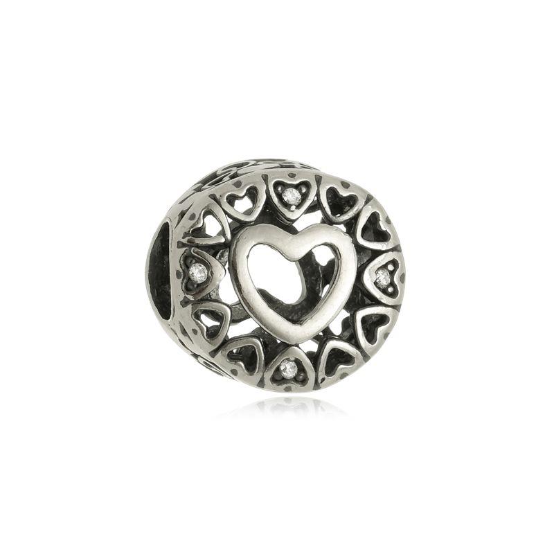 Berloque Separador Coração Apaixonado Em Prata 925