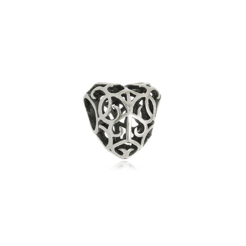 Berloque Separador Coração Arabesco II Em Prata 925