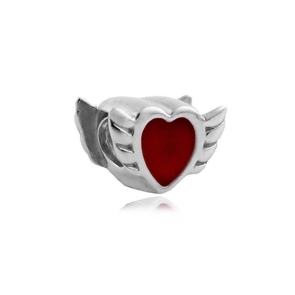 Berloque Separador Coração Com Asas Em Prata 925