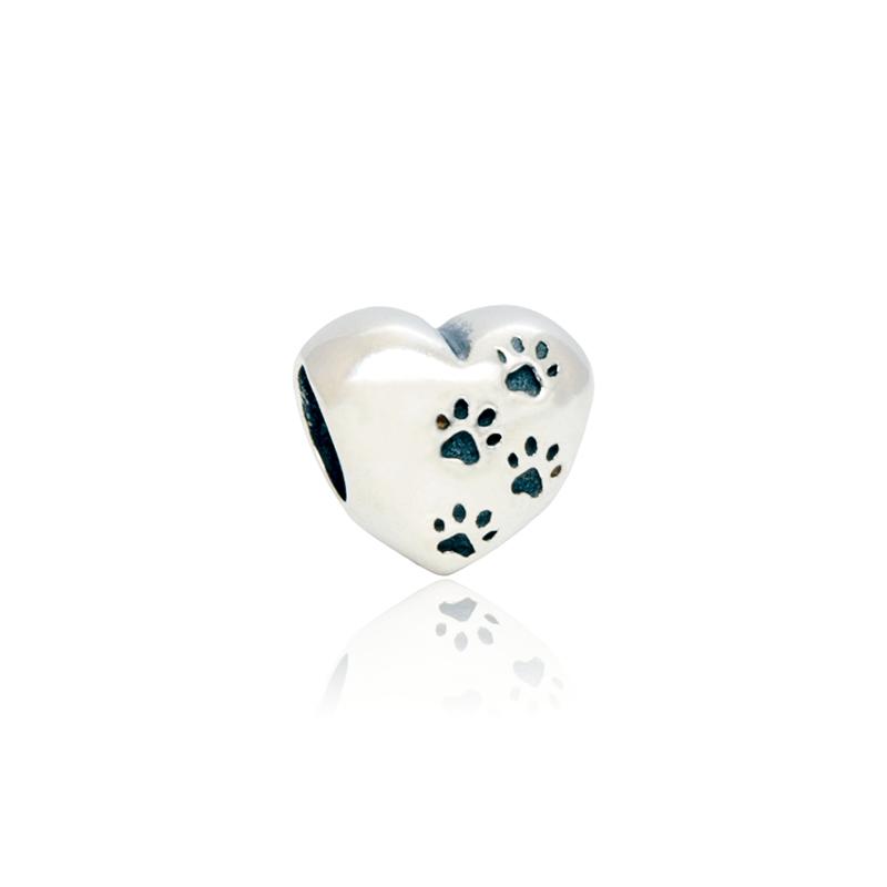 Berloque Separador Coração Com Patinha de Cachorro Em Prata 925