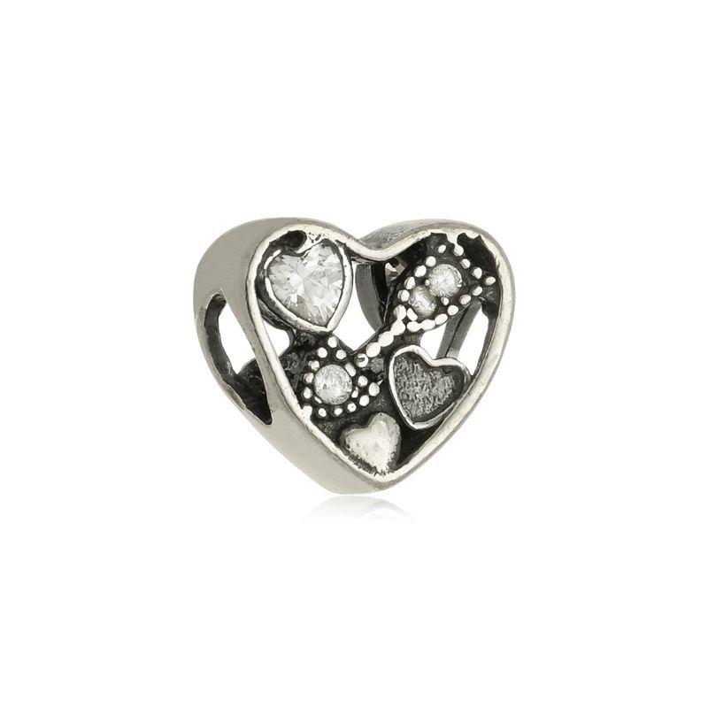 Berloque Separador Coração Flecha Em Prata 925