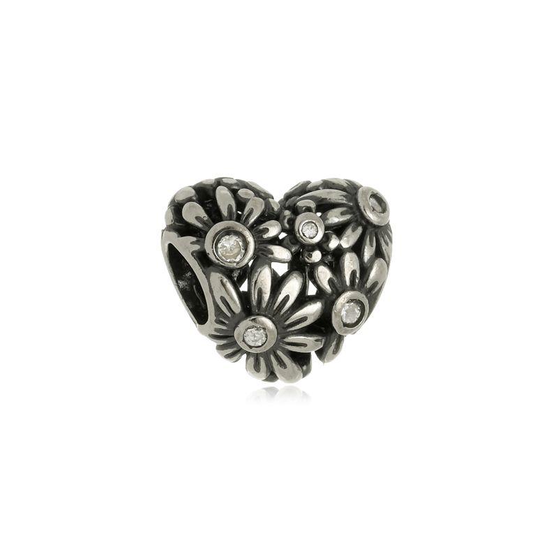 Berloque Separador Coração Floral II Em Prata 925
