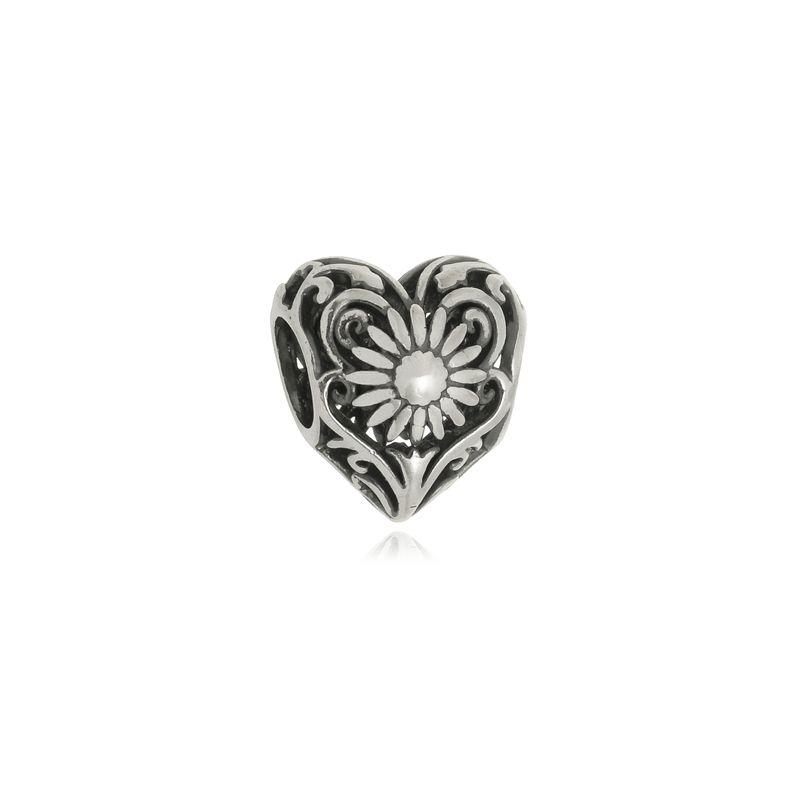 Berloque Separador Coração Rosário Em Prata 925