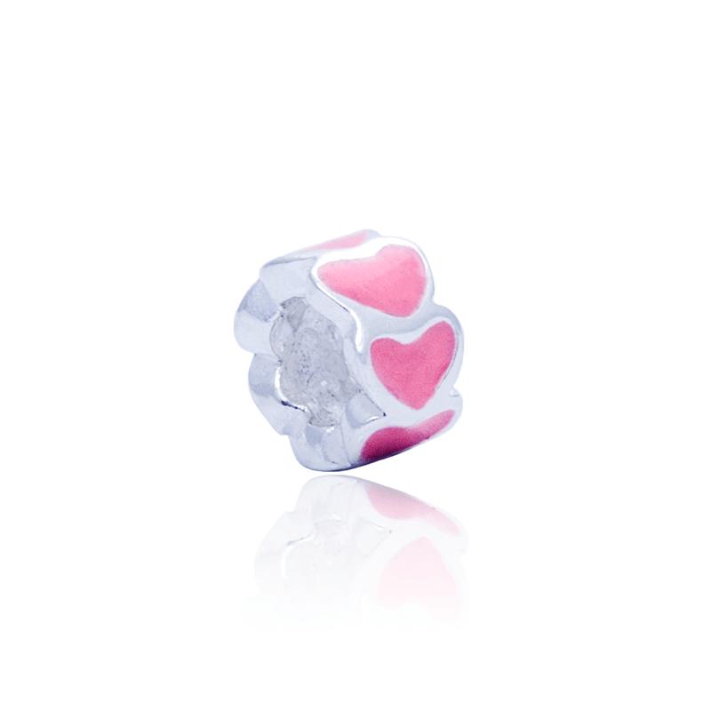 Berloque Separador  Corações Rosa Em Prata 925