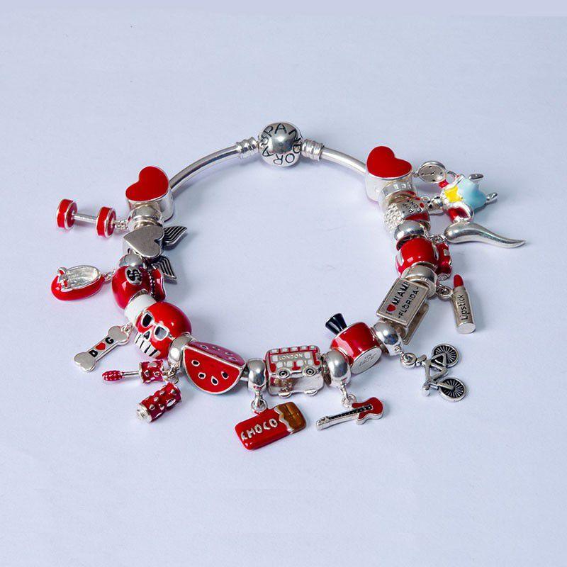 Berloque Separador Esmalte Vermelho Em Prata 925